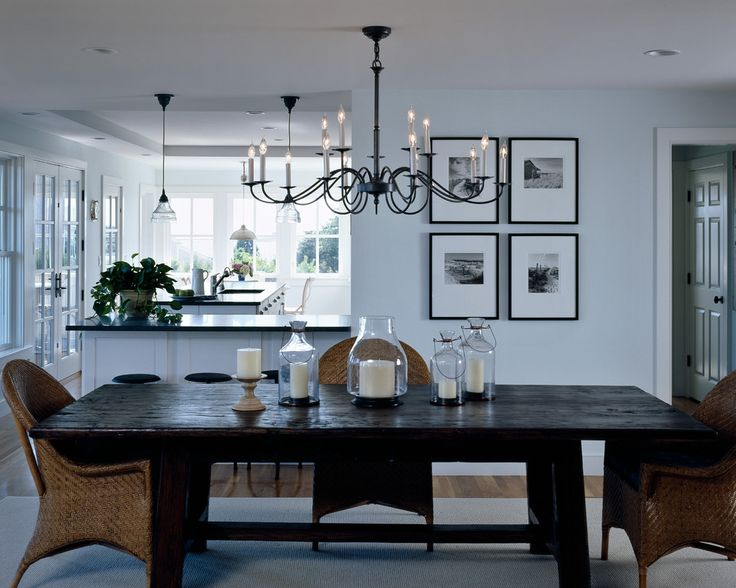 Bright hubbardton forge in dining room rustic with rustic for Dining room next to kitchen