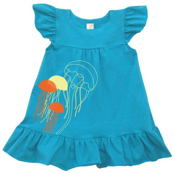 Jellyfish Organic Blue Dress for baby toddler by tomat on Etsy, $33.00 #madeinusa