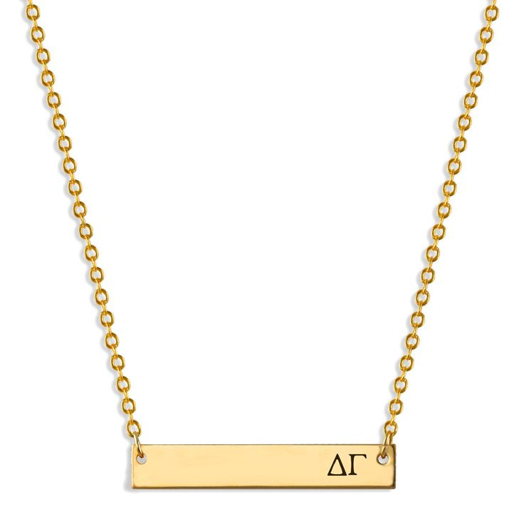 Delta Gamma Bar Stamped Personalized Necklace // Name Plate Necklace // Sorority Jewelry // Sorority Gifts // Big Little by AListGreekDesigns on Etsy https://www.etsy.com/listing/263770191/delta-gamma-bar-stamped-personalized