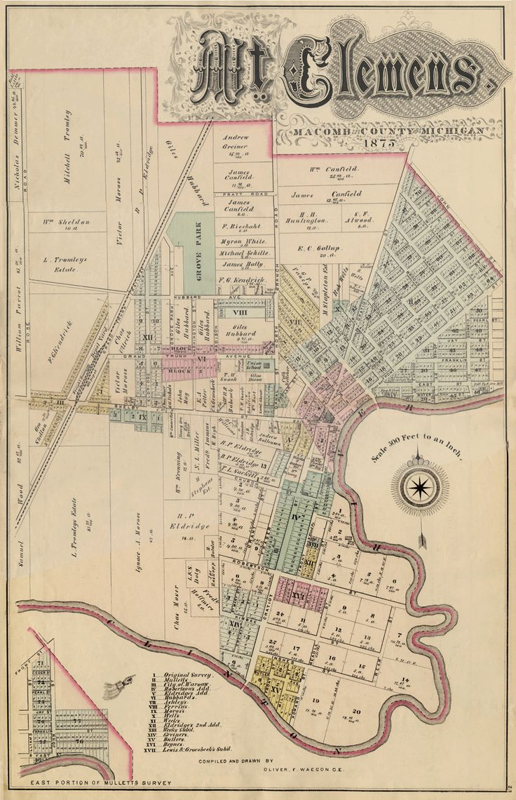Old Mount Clemens city map, 1875 | Mt. Clemens Mi & Macomb ...