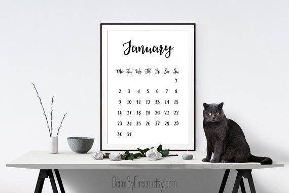 Printable 2017 Calendar Wall Calendar Modern by DecorByEireen