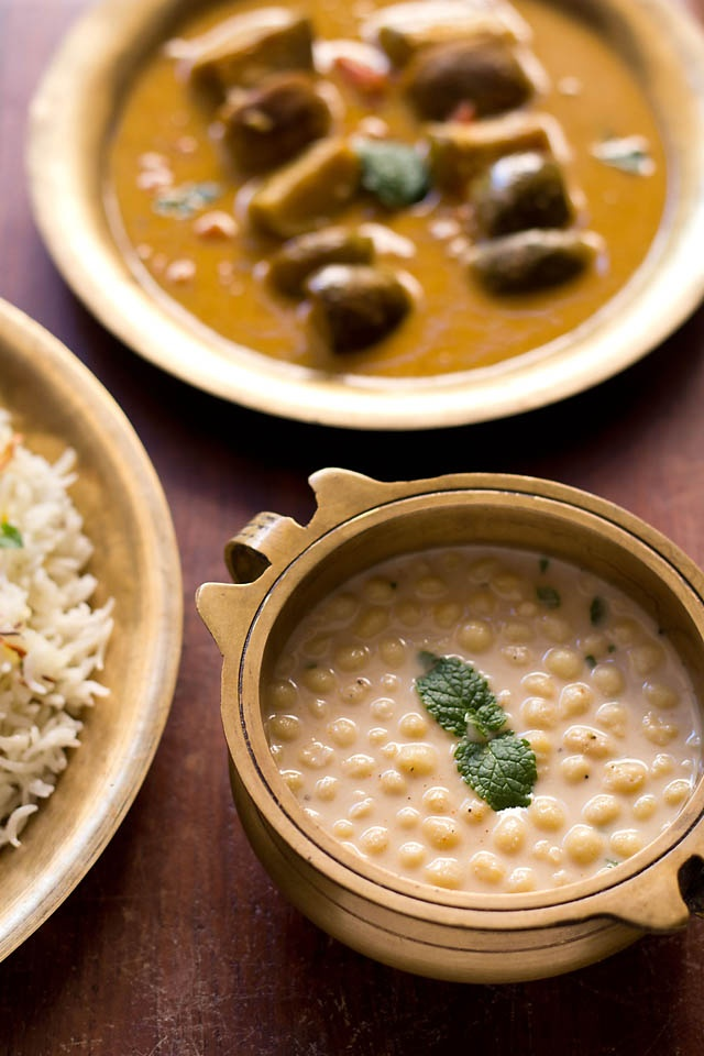Boondi Raita - tiny gram flour balls in spiced Yogurt, one of the most popular  served as a side dish with biryani, pilafs and even any Indian curry-rice combo,