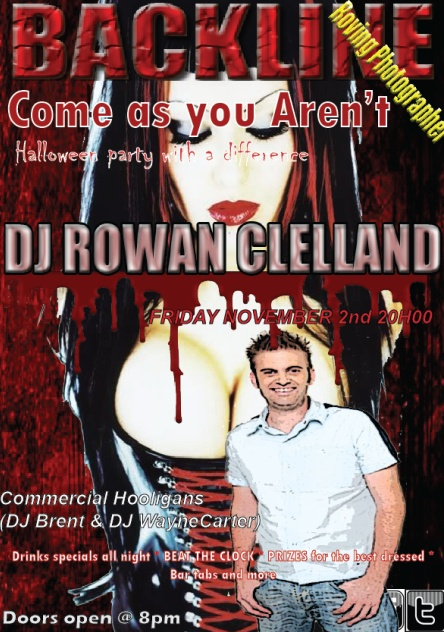 """""""Come as You Aren't"""" Party 2 Nov 2012 8pm with Guest DJ Rowan Clelland in the box. Halloween party with a difference"""