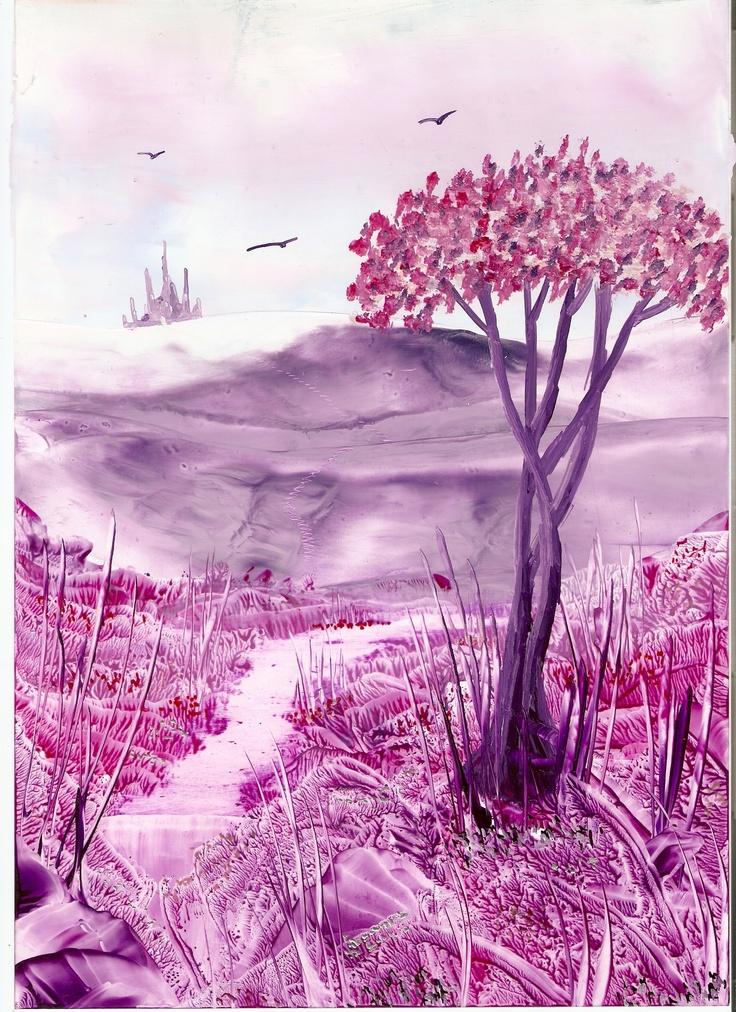 lilac landscape one of my encaustic art paintings