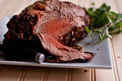 FOOLPROOF way to make the PERFECT PRIME RIB... Great for any holiday meal! Make sure to cut slits in the fat side of the meat and stuck in slivers of fresh garlic before roasting. It's fabulous!