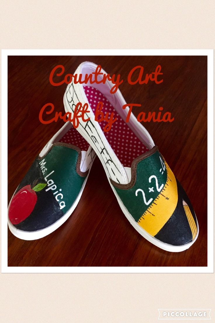 Teachers painted canvas shoes by CountryArtCraft on Etsy https://www.etsy.com/listing/287175033/teachers-painted-canvas-shoes