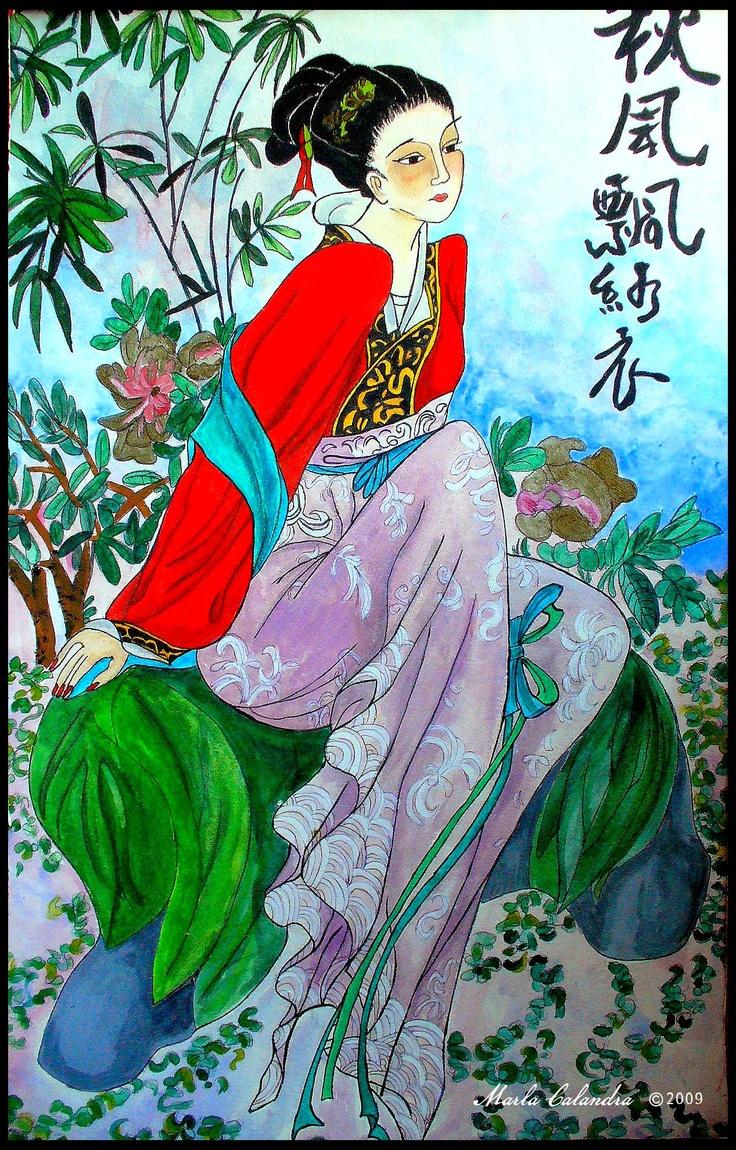 China girl-3'x2'.  Artwork by Marla Calandra, graphite and acrylic