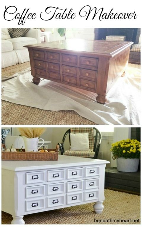 coffee table makeover - library card catalog pulls from D. Lawless Hardware