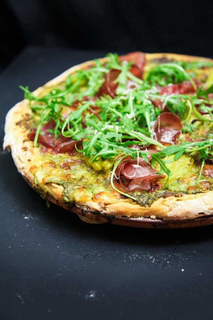 Wild Garlic Pesto Pizza with Bresaola and Arugula | Berries and Spice
