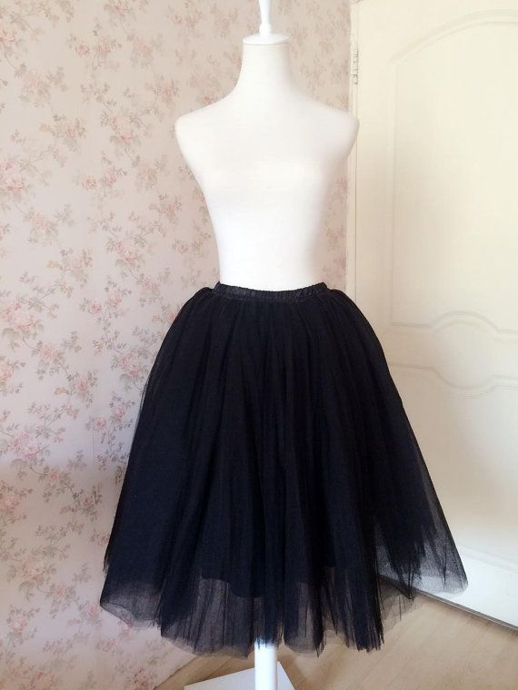 Black Skirt Black Tutu SkirtTutu Midi Skirt Black by Dressromantic-$48.90+-Assorted Colors