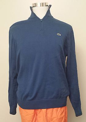#ebay Lacoste men size M cotton blue sweater 1/2 zip neck withing our EBAY store at  http://stores.ebay.com/esquirestore
