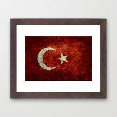 The National flag of Turkey - Vintage version Framed Art Print