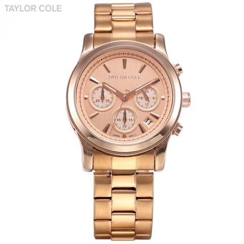 Taylor Cole Auto Date Display Chronograph Rose Gold Stainless Steel Strap Relogio Quartz Analog Clock Women Dress Watch / TC005