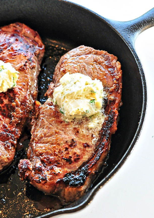 Skillet Steaks with Gorgonzola Herbed Butter Recipe....never cooked a steak this way but I might give it a try