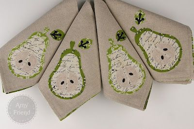 Applique Napkins made with Sizzix Bigz Die Pear by During Quiet TimeNapkins Tutorials, Sewing Crafts, Pears Appliques, Time Amy, Delight Sewing, Neat Napkins, Quiet Time, Appliques Napkins, Craftysew Tutorials