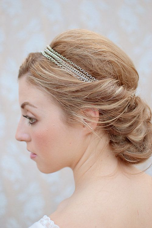 Chloe - Chain headband handmade Twig and Sparrow silver Vintage Inspired Downton Abbey on Etsy, £12.70