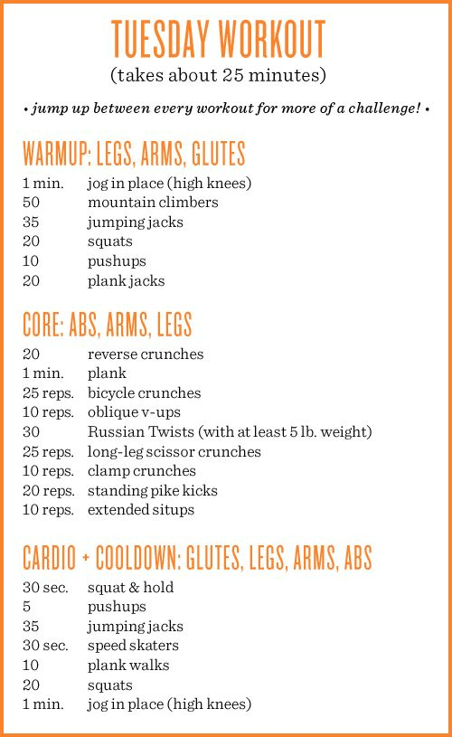 Tuesday workout! Each week I up the repetitions of each move as I see myself improving. For instance, now I'm comfortable doing 10 pus...