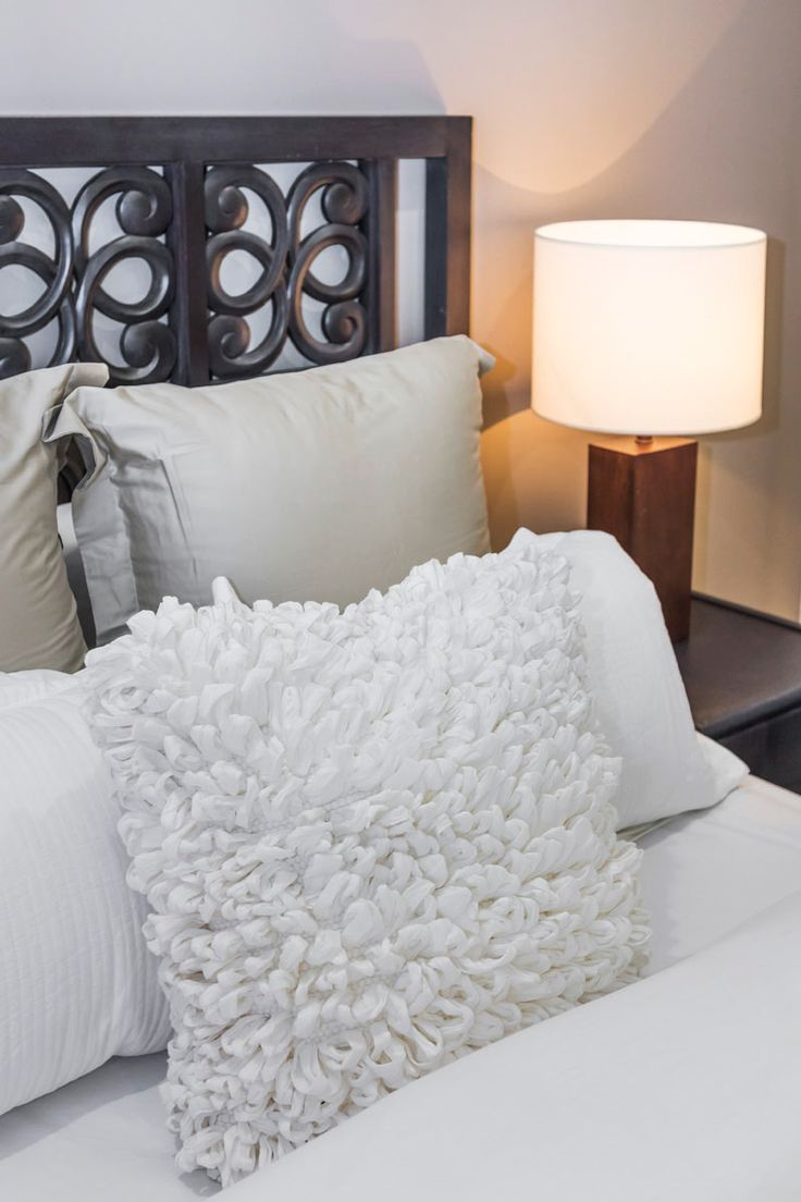 #Bedroom #ideas from Ausbuild's Bellfield display #home. Mix different materials together like beads on fabric to create a multidimensional look.