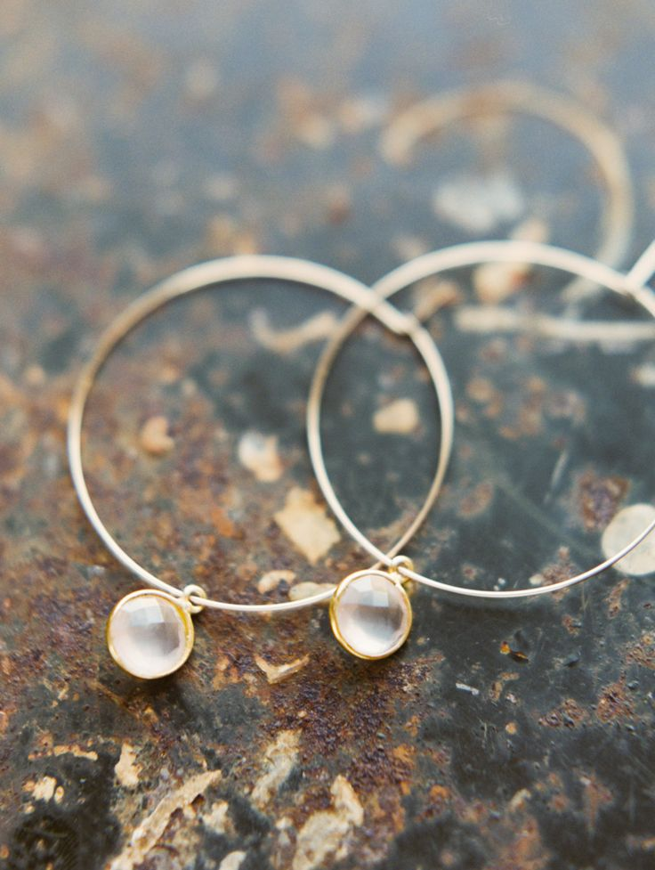 Gold Filled Hoops with Pink Chalcedony Stone drops - EG02 by joydravecky on Etsy