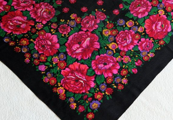 Black floral shawl Russian woolen scarf Slavic by MadeInTheUSSR