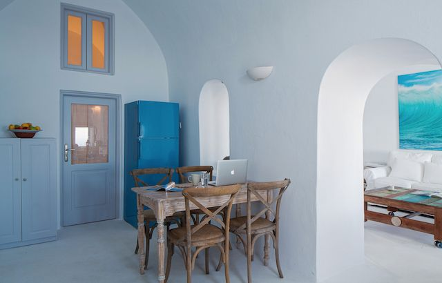 Villa Gaia is a beautiful vacation home located on the cliffs that are found on the Greek island of Santorini.