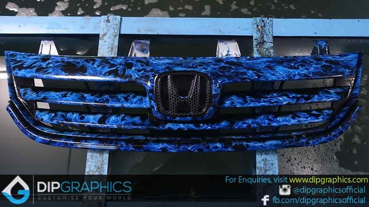 Hydro-Dipped-Honda-Stream-Front-Grill-in-Blue-Flames