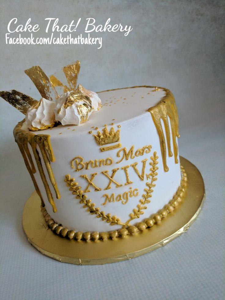 Bruno Mars 24k gold birthday cake, XXIV k gold, golden meringues, sugar glass with gold leaf