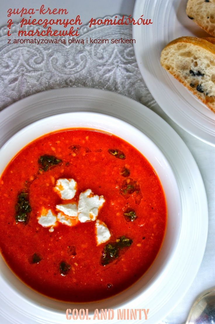 roasted tomatoes and carrots cream soup with goat cheese