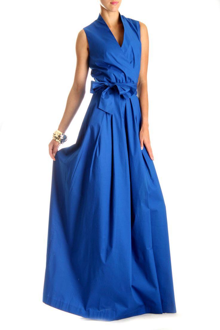 Платье Andrea Crocetta. Длинное платье с запахом. Длинное платье в пол модного цвета электрик со складками на юбке вырезом на запах и поясом изготовлено из натуральной хлопковой ткани с небольшим добавлением эластана. Длинное платье с запахом фото которого можно посмотреть в интернет магазине FStyle особенно актуально будет этим летом. http://fstyle-shop.com.ua/