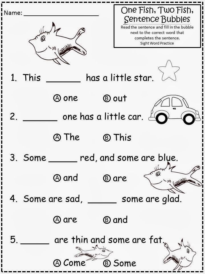 Free: Dr. Seuss One Fish, Two Fish Sentence Bubbles.  Not For Profit....For Educational Purposes Only.  Multiple choice literacy practice for Kindergarten. Freebie For Teachers From A Teacher! Enjoy! www.fairytalesandfictionby2.blogspot.com