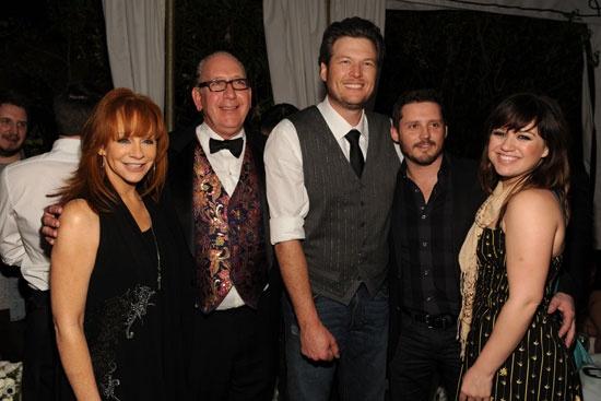 Reba with Blake Shelton, stepson Brandon and future ...