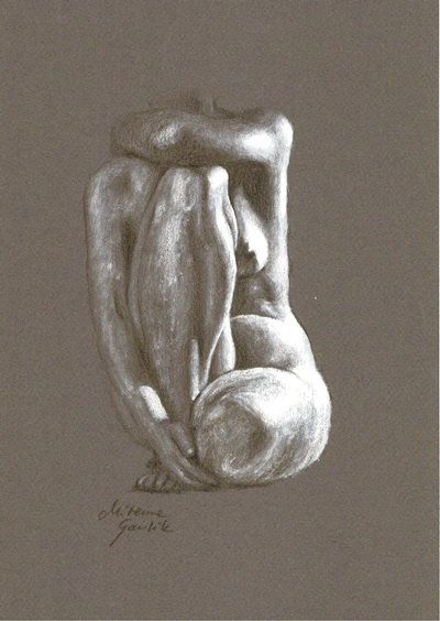 ORIGINAL DRAWING - Female nude 23 by Milena Gawlik, pencils on grey paper, artistic drawing of  naked woman