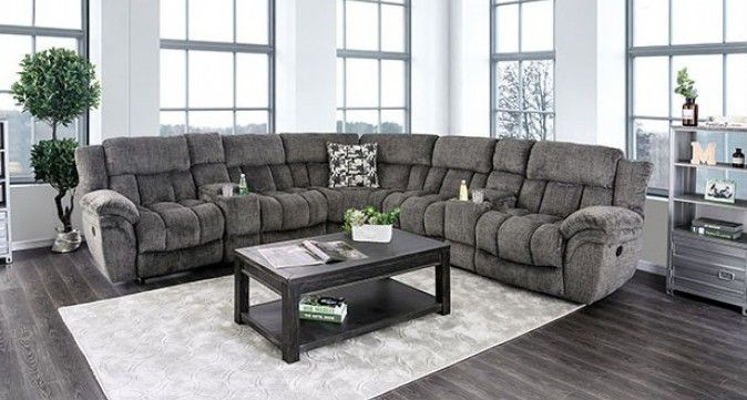 Cm6585gy 3 Pc Irene Gray Flannelette Fabric Sectional Sofa With Recliner Ends Sectional Sofa With Recliner Fabric Sectional Sofas Fabric Sectional