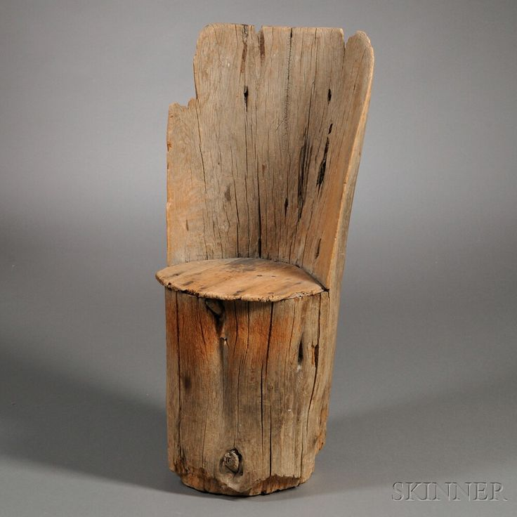 Rustic Carved Pine Chair, New England, probably 19th century, fashioned from a hollowed-out tree stump with plank seat (imperfections), ht. 35 3/4, seat ht. 17 1/2 in.