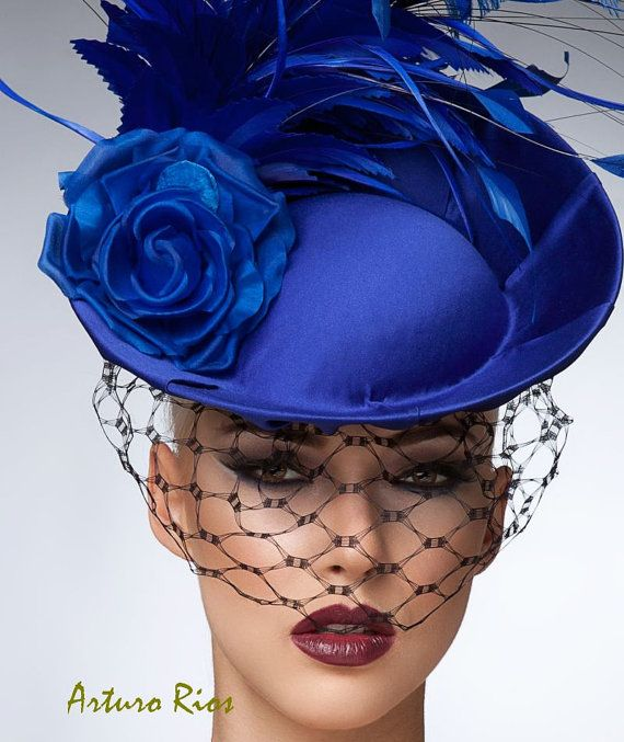 Royal Blue Fascinator cocktail hat Headpiece Royal by ArturoRios