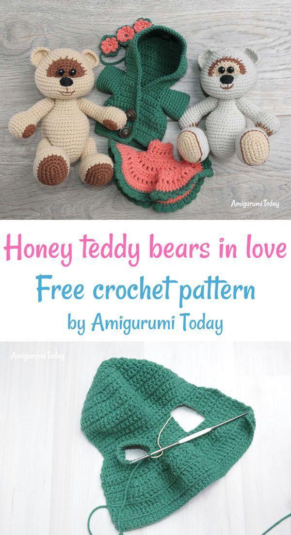 Honey Teddy Bears In Love Crochet Pattern Crochet Teddy