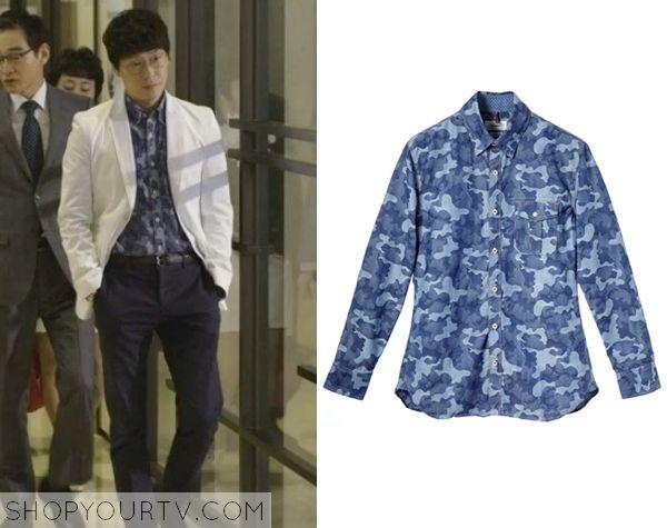 Golden Cross: Episode 10 Michael Jang's Blue Camouflage Shirt - ShopYourTv