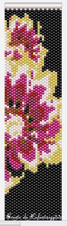 I peyote di Lufantasygioie: Pattern peyote:fiori rossi su sfondo nero