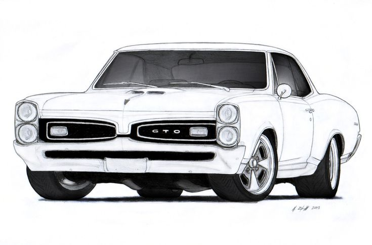 1967 pontiac gto drawing by for Pontiac gto coloring pages
