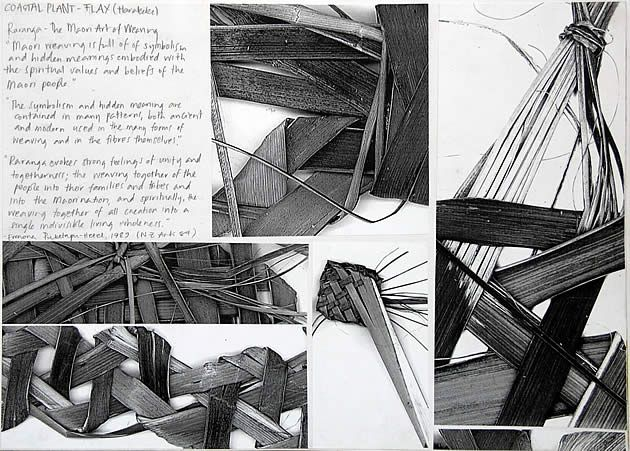 Most of Manisha's IGCSE art sketchbook assignments are paintings and drawings. This is the first page that involves a 3D aspect. In this assignment, Manisha referenced traditional Maori weavers and made a flax weaving of her own (flax is a common plant in NZ coastal regions, thus fitting into the overall Coastal Environment theme). She then photocopied this weaving to create strongly contrasting black and white images, which were then cropped carefully to create striking compositions.