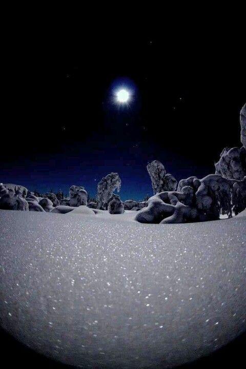 Full Moon reflecting on snow