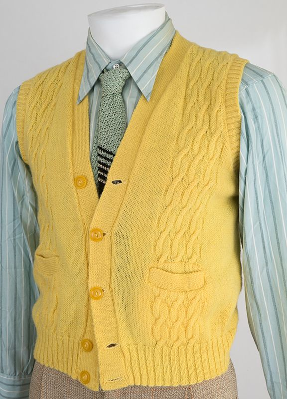 1950s Cable Knit Sweater Vest Mens Fashion Cardigan Mens Shirt And Tie 1950s Fashion Menswear