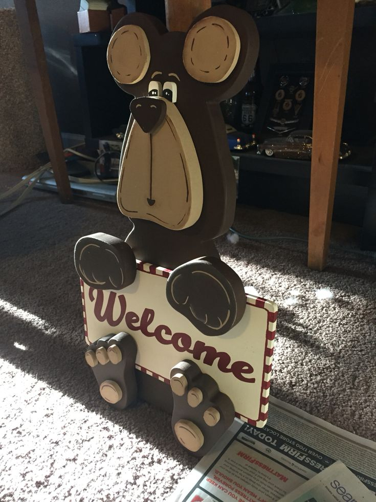 Cute 3D bear welcome sign wood cutout!