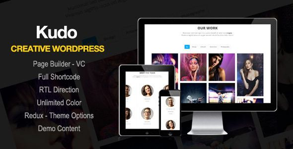 Kudo - Portfolio, Marketing Landing Page WordPress Theme by ovatheme Please remove iframe of envato when you view in mobile, ipad Wordpress Feature - Free Visual Composer Plugin - Support Shortcode F