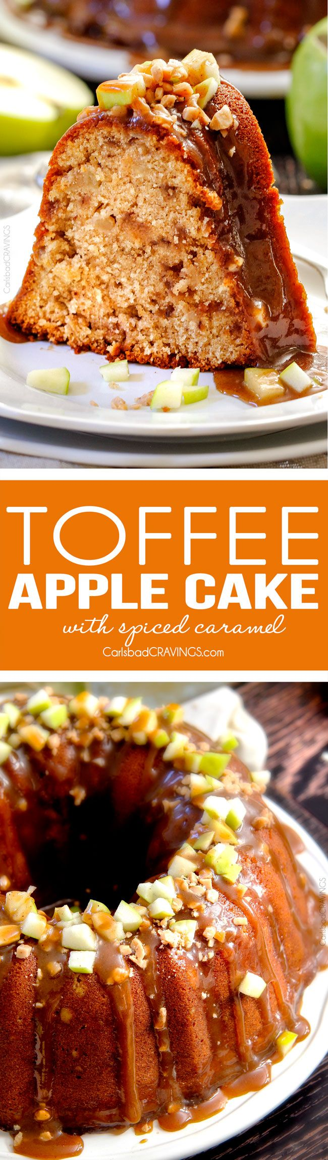 My FAVORITE apple cake! Toffee Apple Pound Cake with the most incredible Spiced Caramel bursting with sweet toffee bits and apples in every bite! Everyone goes crazy over this cake! via @carlsbadcrav (Apple Cake)