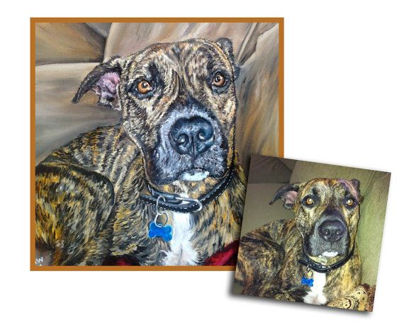 custom dog portrait pet portrait dog painting original oil painting boxer pit mix art great gift 16x16 made to order by Heather Wallace  carly by the water