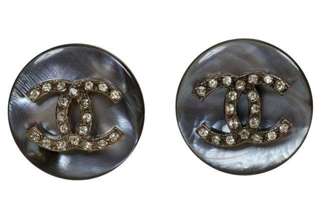 Chanel Mother-of-Pearl Logo Earrings