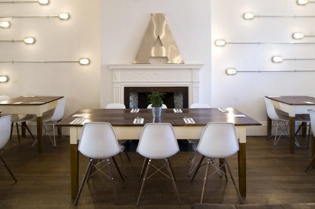 LIGHTS at Amelie and Friends in West Sussex / Because the building is an historical property, the designers were barred from installing light fixtures into the ceiling. Their solution was to place outdoor aluminum flush-mount fixtures along the ceiling and walls, leaving the exposed metal conduit as a design element. (via Remodelista)
