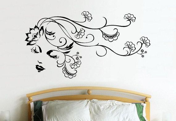 Beauty Salon Blowing Flowers Flower Hair Lady wall vinyl design decal