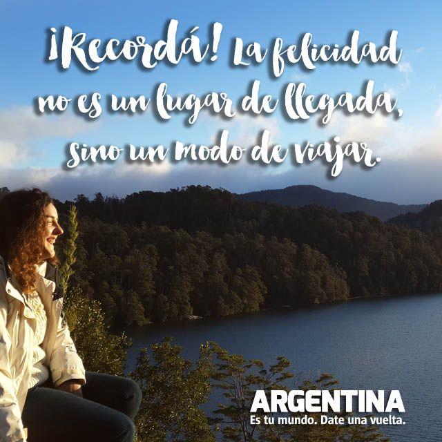 """""""¡Recordá! La Felicidad no es un lugar de llegada, sino una forma de viajar""""  #Viajar #Viajes #Felicidad #Turismo #Turista #Maleta #Conocer #Experiencias #Argentina #Mundo #Frases"""